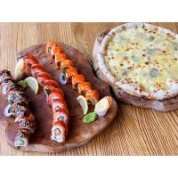 Сет 2: Ролл Філадельфія з лососем, Філадельфія з вугром і Каліфорнія рол з лососем + Піца «4 сири»